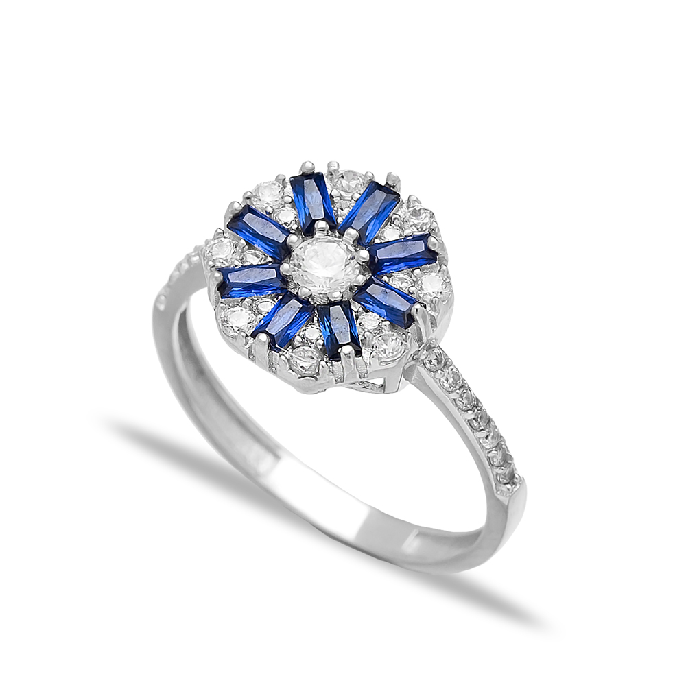 Sapphire Silver Baguette Engagement Rings Handmade Wholesale Turkish 925 Sterling Silver Jewelry
