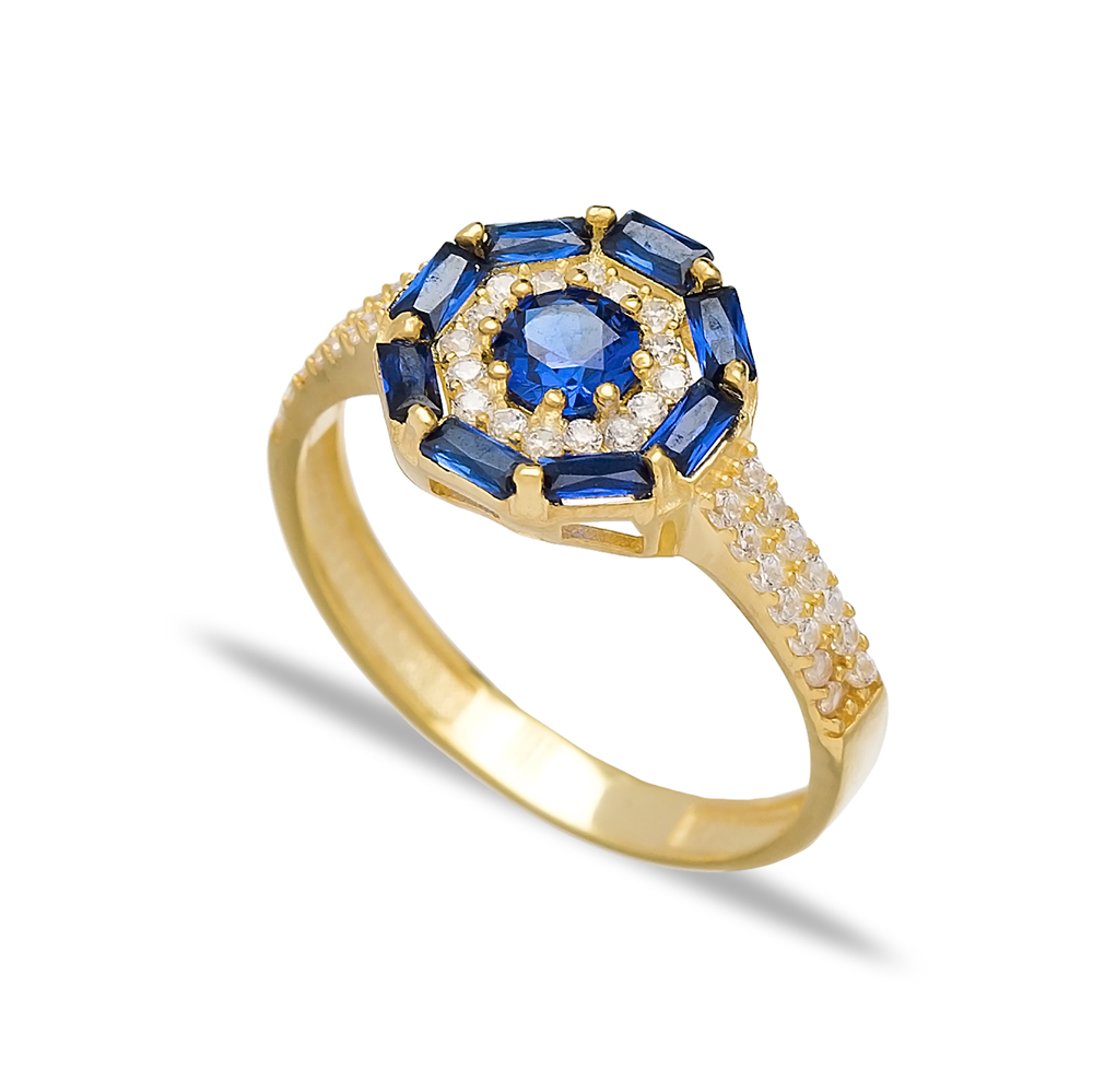 Sapphire Baguette Handmade Rings Wholesale Turkish 925 Sterling Silver Jewelry