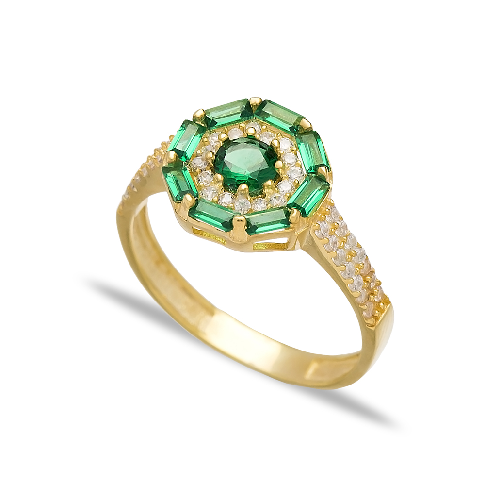 Emerald Stone Baguette Handmade Rings Wholesale Turkish 925 Sterling Silver Jewelry
