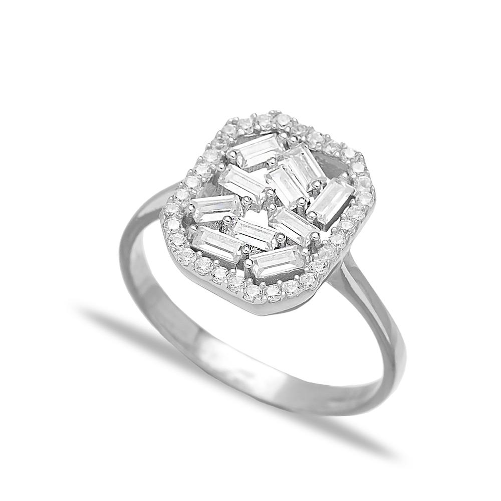 Elegant Design Zircon Baguette Turkish Rings Wholesale Handmade 925 Sterling Silver Jewelry