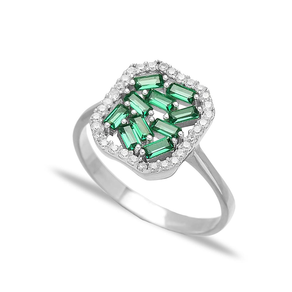 Elegant Design Emerald Baguette Turkish Rings Wholesale Handmade 925 Sterling Silver Jewelry