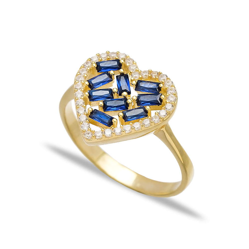 Heart Design Sapphire Baguette Turkish Rings Wholesale Handmade 925 Sterling Silver Jewelry