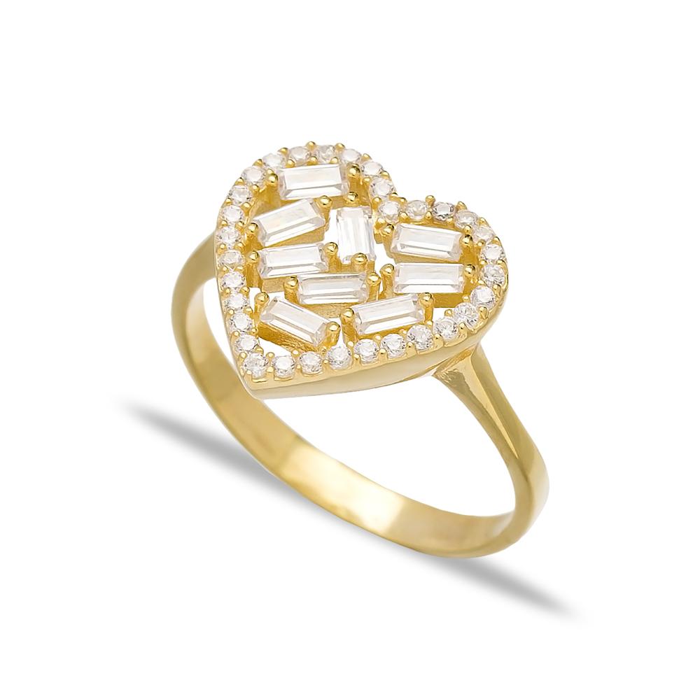 Heart Design Zircon Baguette Turkish Rings Wholesale Handmade 925 Sterling Silver Jewelry
