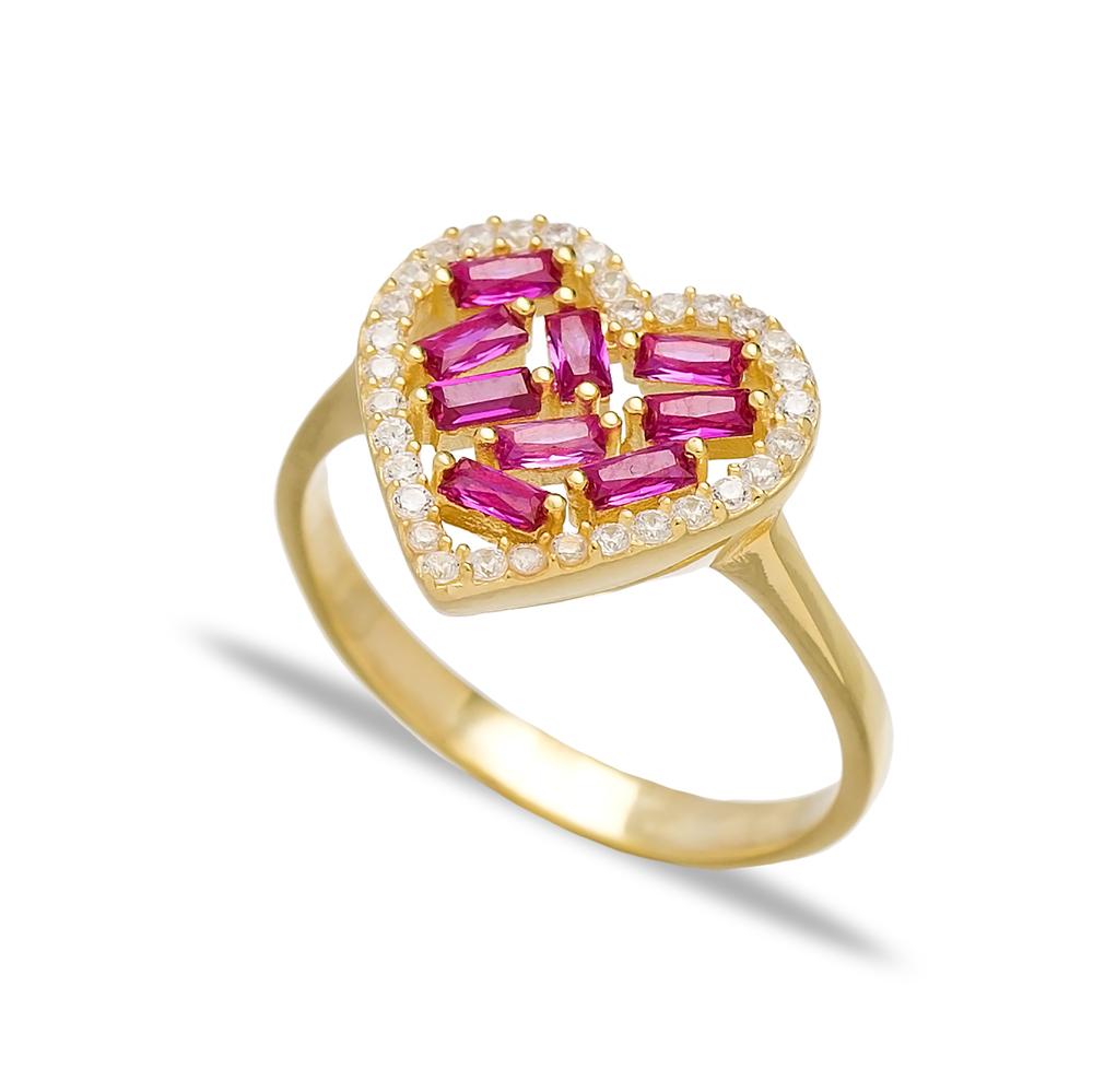 Heart Design Ruby Baguette Turkish Rings Wholesale Handmade 925 Sterling Silver Jewelry