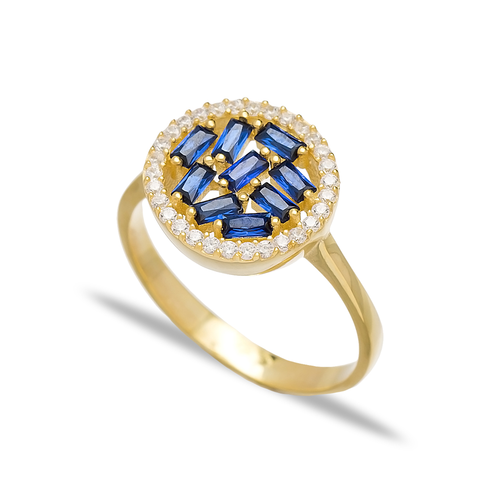 Round Design Sapphire Baguette Turkish Rings Wholesale Handmade 925 Sterling Silver Jewelry