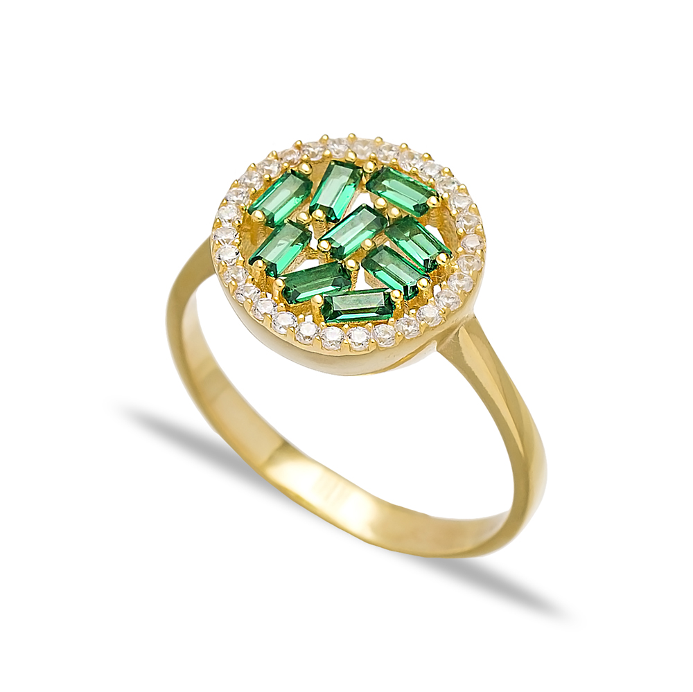 Round Design Emerald Baguette Turkish Rings Wholesale Handmade 925 Sterling Silver Jewelry