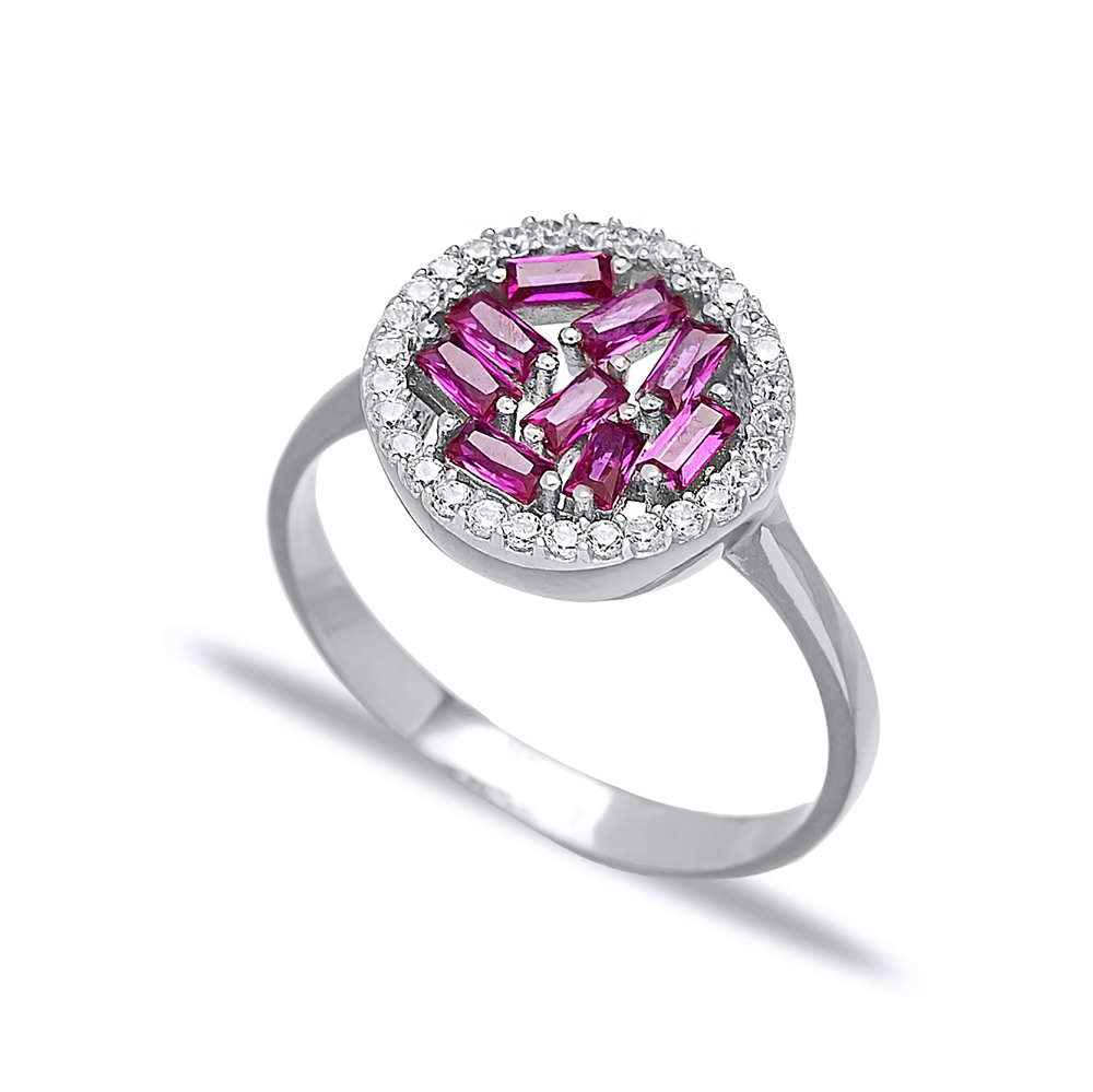 Round Design Ruby Baguette Turkish Rings Wholesale Handmade 925 Sterling Silver Jewelry