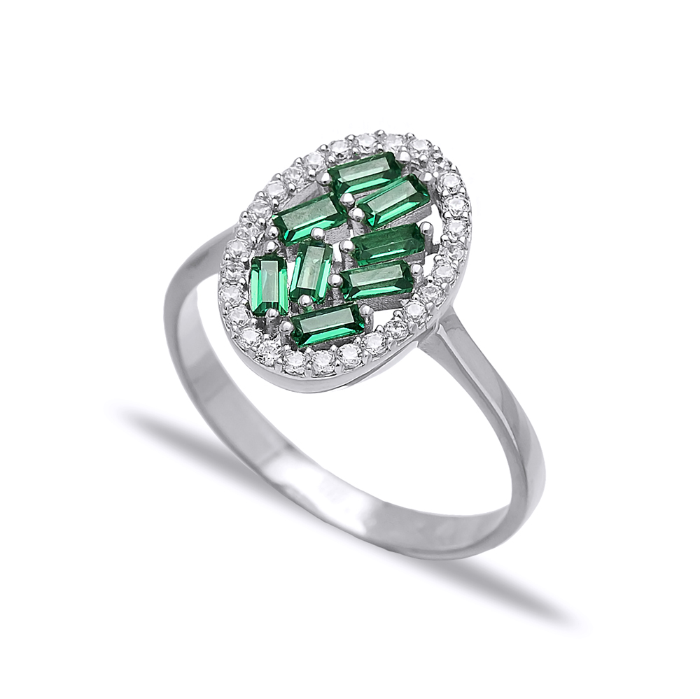 Emerald Baguette Oval Design Turkish Rings Wholesale Handmade 925 Sterling Silver Jewelry