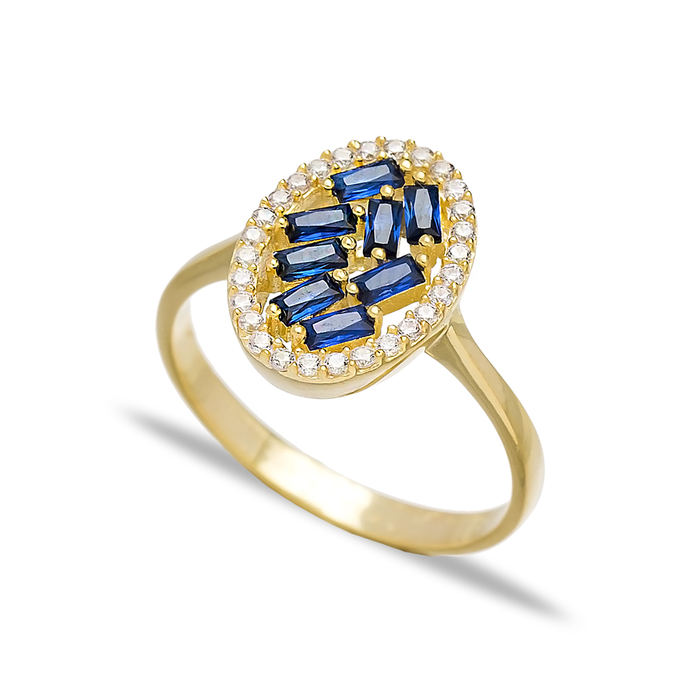 Sapphire Baguette Oval Design Turkish Rings Wholesale Handmade 925 Sterling Silver Jewelry
