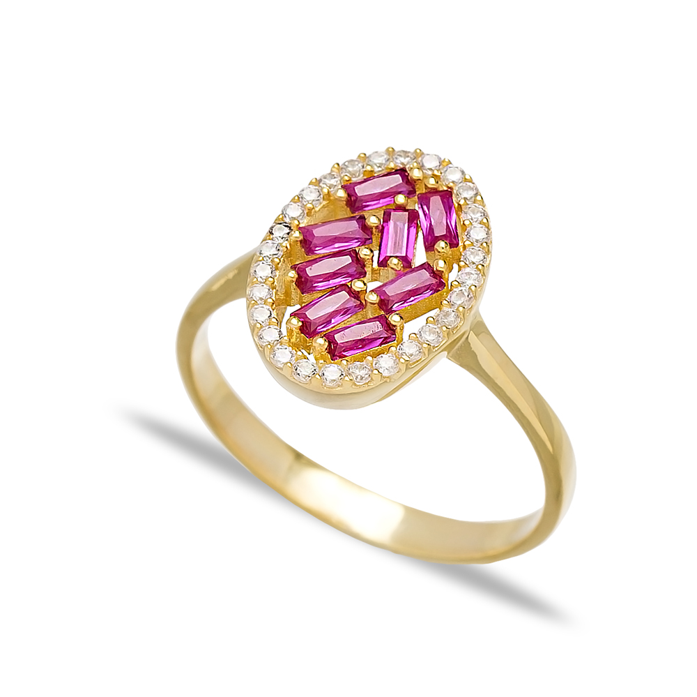 Oval Design Ruby Baguette Turkish Rings Wholesale Handmade 925 Sterling Silver Jewelry
