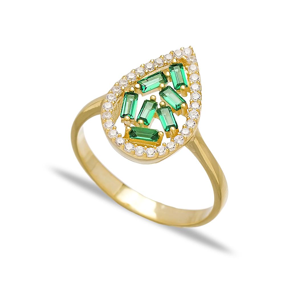 Emerald Drop Design Baguette Turkish Rings Wholesale Handmade 925 Sterling Silver Jewelry