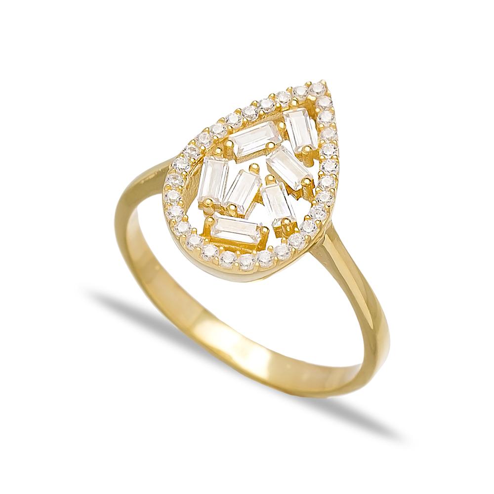 Zircon Drop Design Baguette Turkish Rings Wholesale Handmade 925 Sterling Silver Jewelry