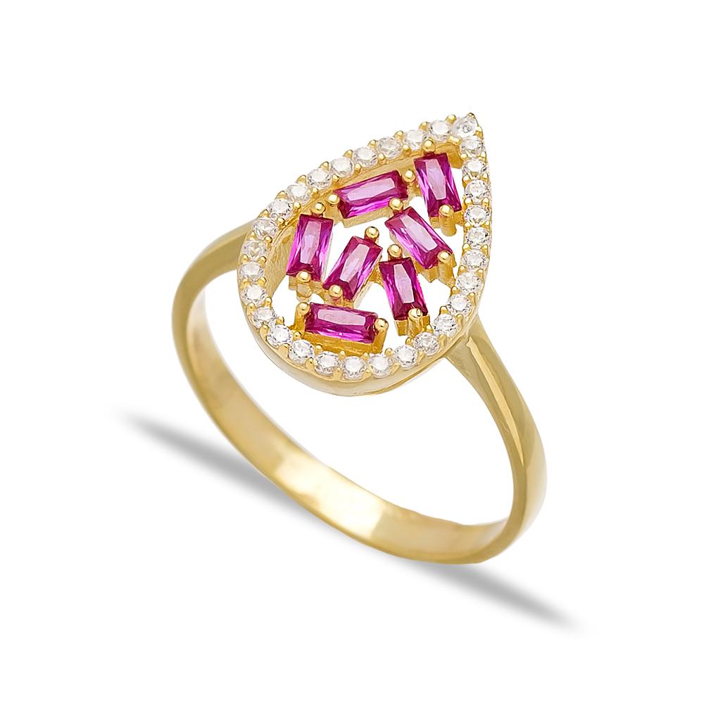 Drop Design Ruby Baguette Turkish Rings Wholesale Handmade 925 Sterling Silver Jewelry