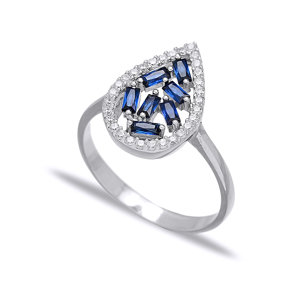 Drop Design Sapphire Baguette Turkish Rings Wholesale Handmade 925 Sterling Silver Jewelry