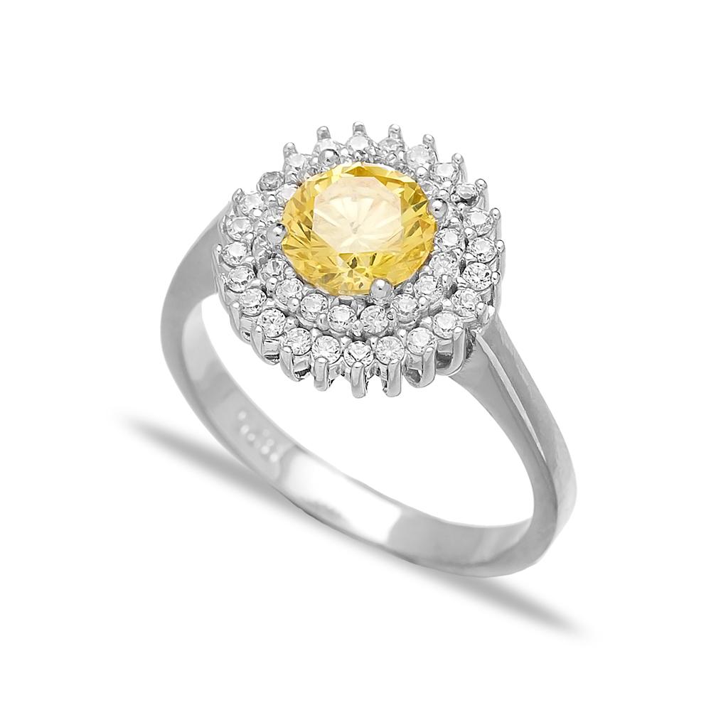 Yelow Zircon Dainty Design Turkish Rings Wholesale Fashion 925 Sterling Silver Jewelry
