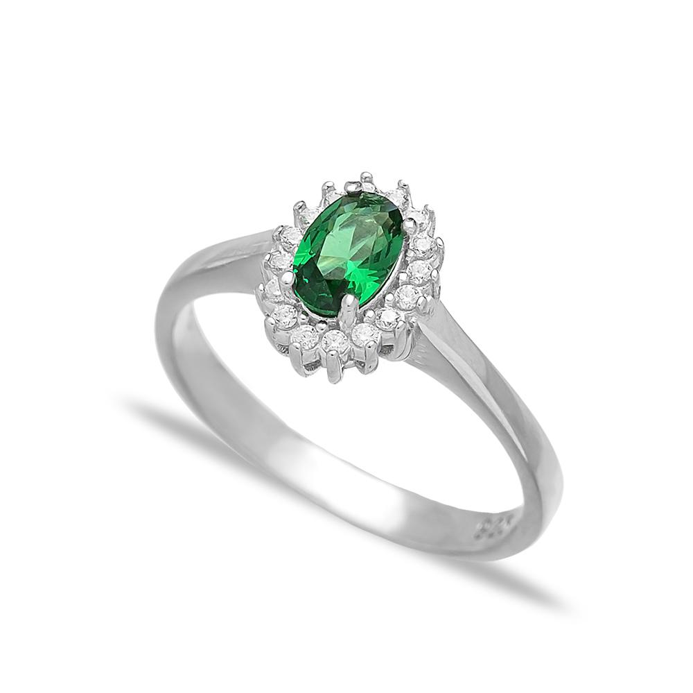 Minimalist Emerald Stone Dainty Turkish Rings Wholesale Fashion 925 Sterling Silver Jewelry