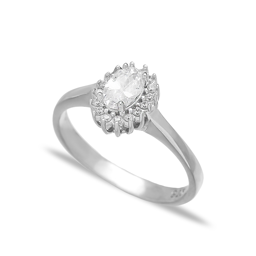 Minimalist Zircon Stone Dainty Turkish Rings Wholesale Fashion 925 Sterling Silver Jewelry