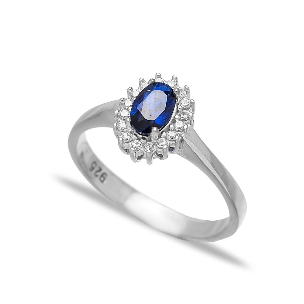 Minimalist Sapphire Stone Dainty Turkish Rings Wholesale Fashion 925 Sterling Silver Jewelry
