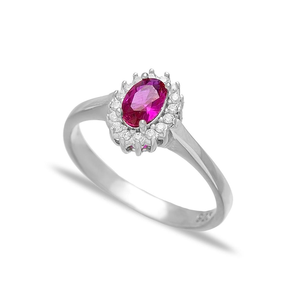 Ruby Stone Minimalist Dainty Rings Wholesale Turkish 925 Sterling Silver Jewelry