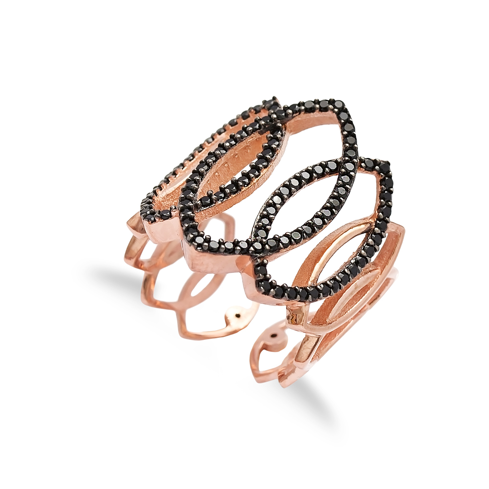 Black Zircon Stone Turkish Wholesale Handcrafted Adjustable Silver Ring