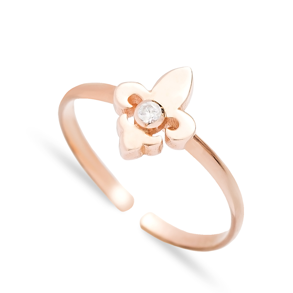 French Lily Flower Design Adjustable Ring Wholesale Turkish Sterling Silver Jewelry