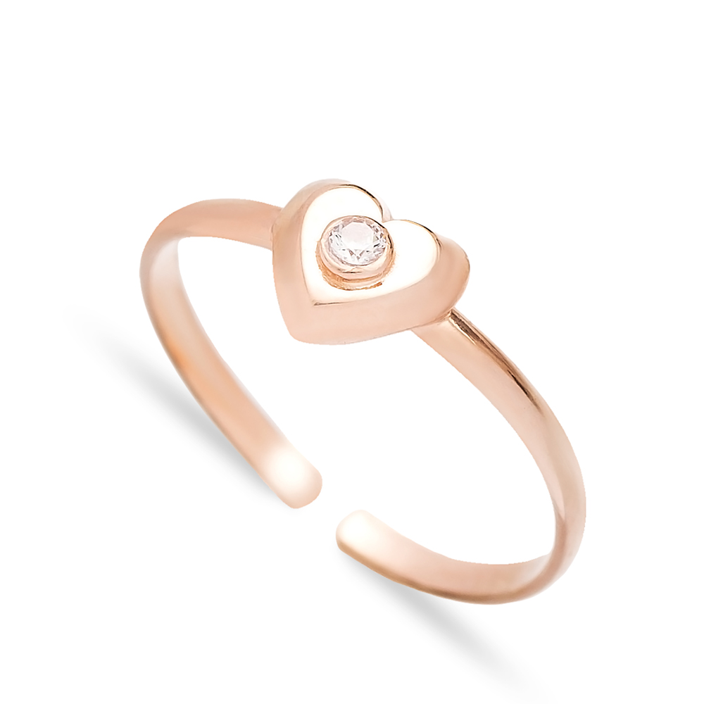Minimal Heart Design Adjustable Ring Wholesale Turkish Sterling Silver Jewelry
