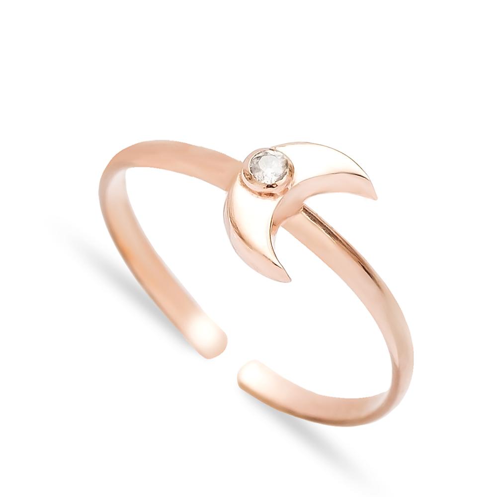 Minimal Moon Design Adjustable Ring Wholesale Turkish Sterling Silver Jewelry