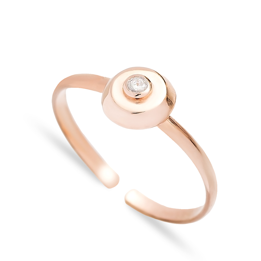 Round Minimal Zircon Adjustable Ring Wholesale Turkish Sterling Silver Jewelry