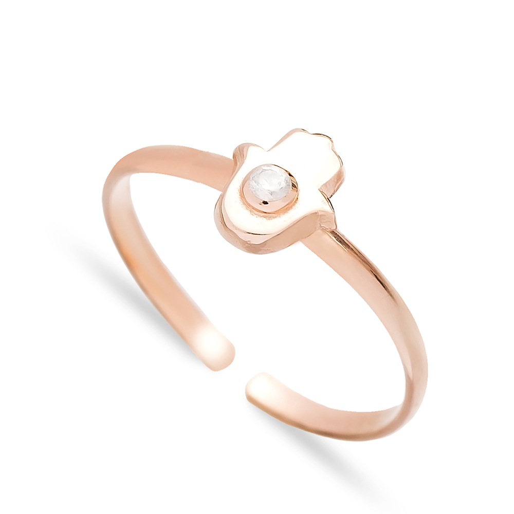 Adjustable Minimal Hamsa Design Ring Handmade Wholesale Sterling Silver Jewelry