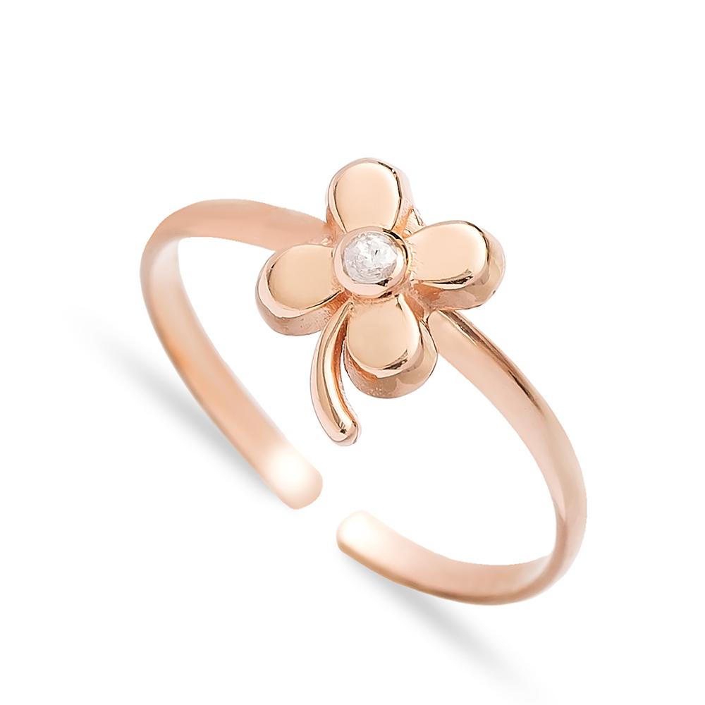 Four Leaf Clover Design Minimal Adjustable Ring Handmade Wholesale Sterling Silver Jewelry