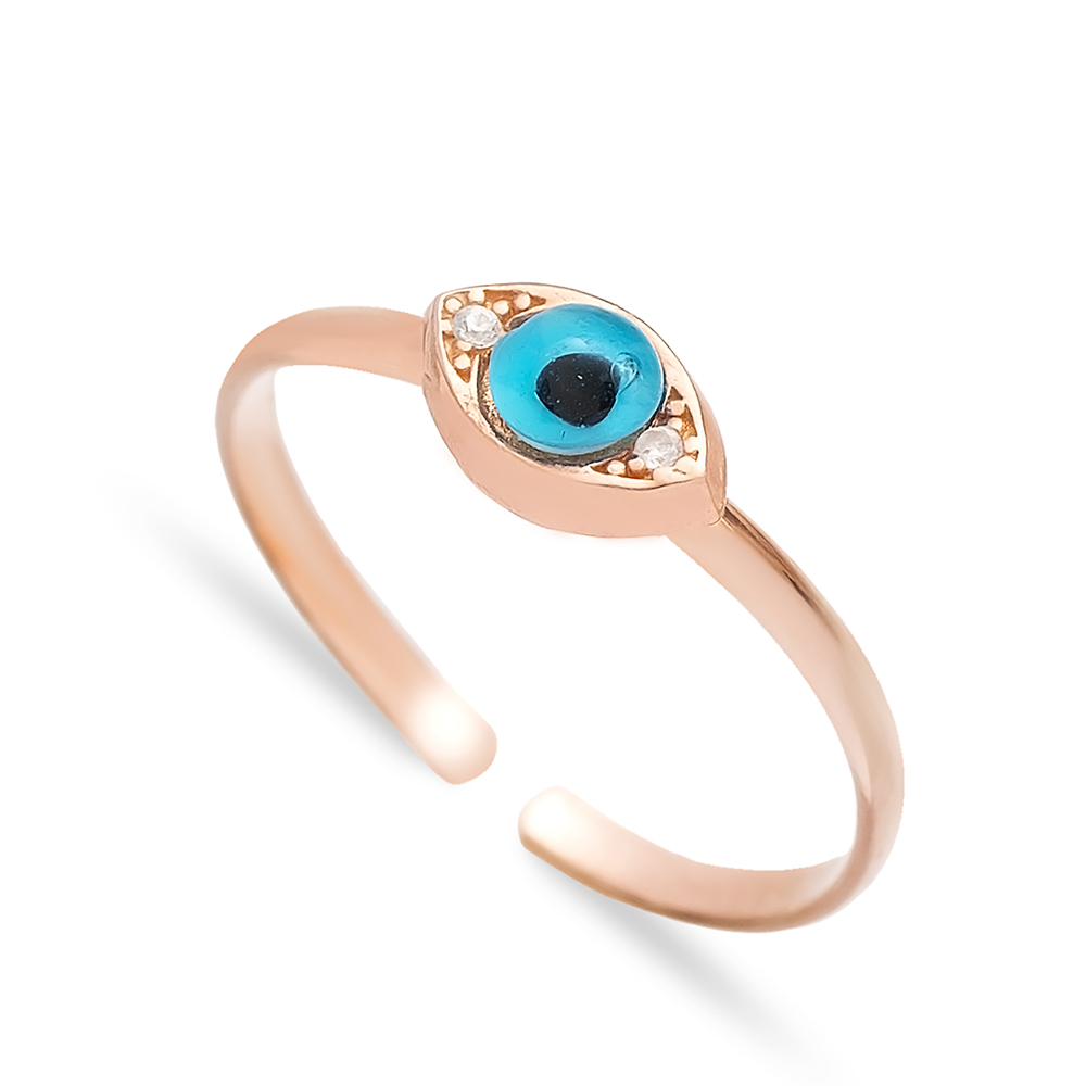 Minimal Evil Eye Design Adjustable Ring Handmade Wholesale Sterling Silver Jewelry