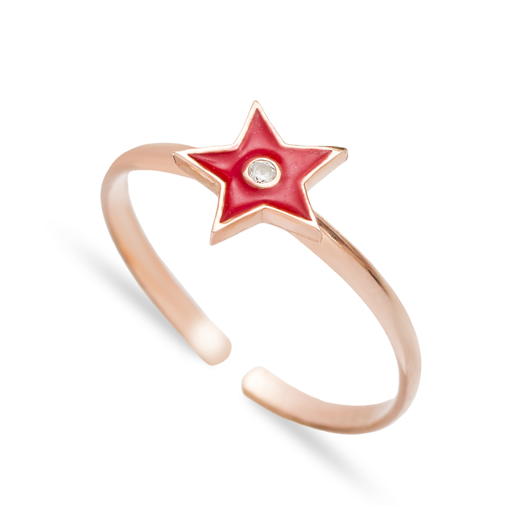 Red Enamel Star Design Adjustable Ring Handmade Wholesale Sterling Silver Jewelry
