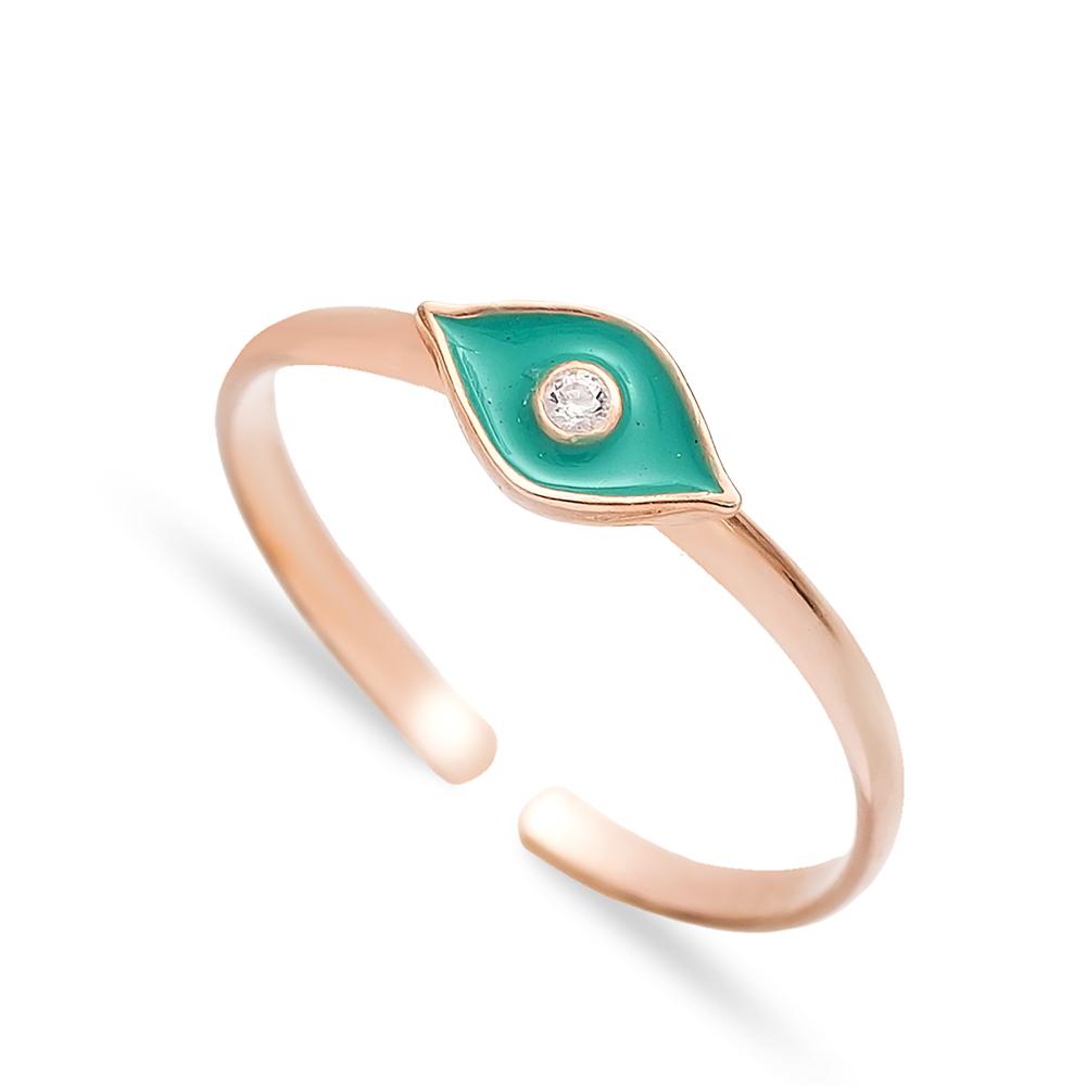 Enamel Eye Design Adjustable Ring Handmade Wholesale Sterling Silver Jewelry