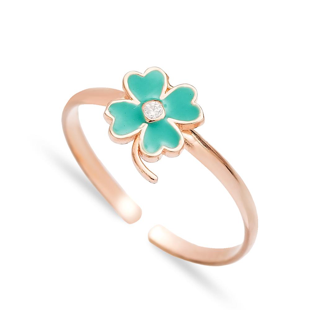 Four Leaf Clover Design Enamel Adjustable Ring Handmade Wholesale Sterling Silver Jewelry