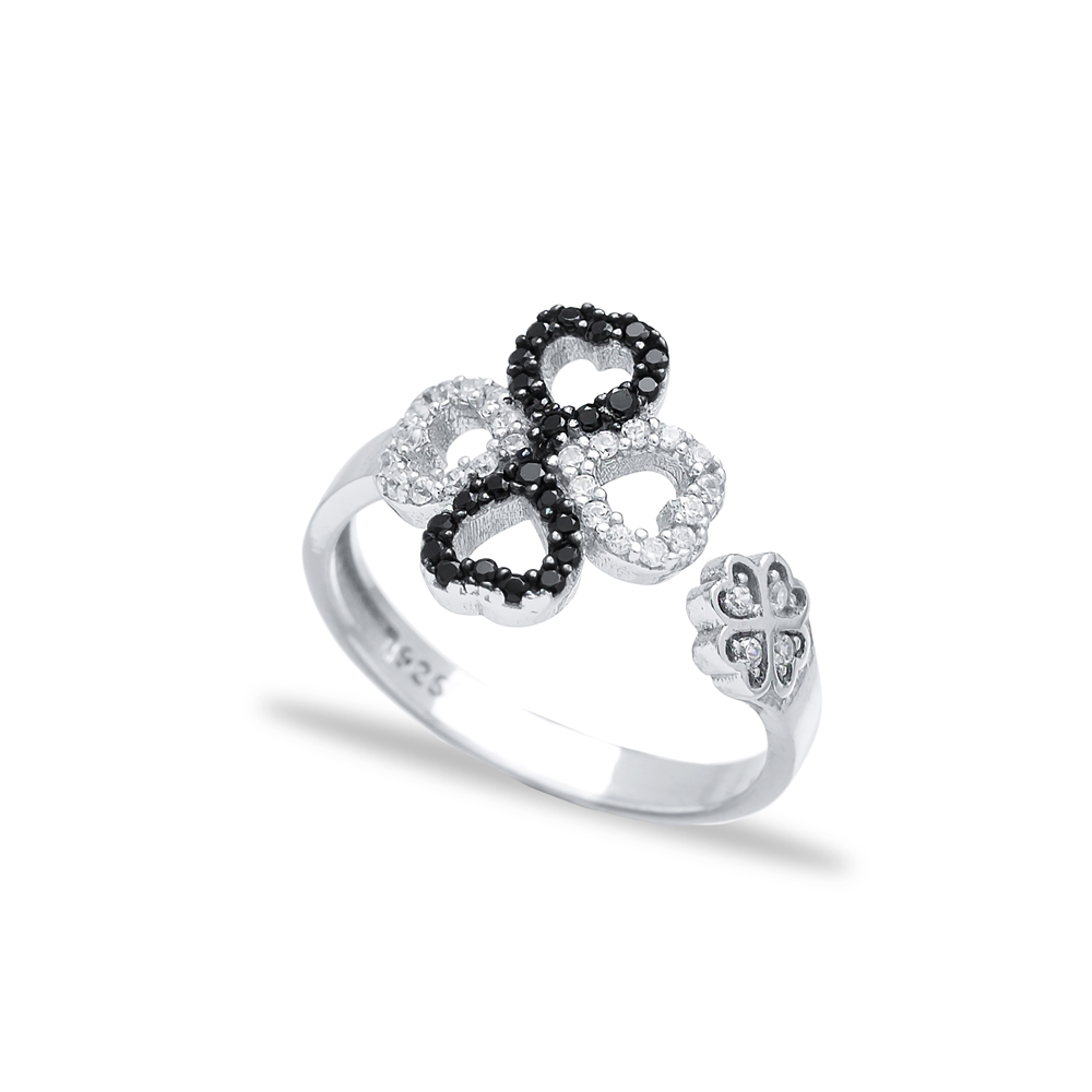 Heart and Infinity Design Adjustable Ring Turkish Wholesale Handcrafted 925 Silver Jewelry