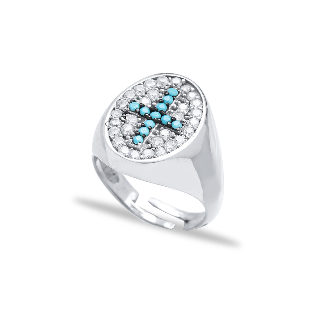 Turquoise Cross Design Adjustable Ring Turkish Wholesale Handcrafted 925 Silver Jewelry