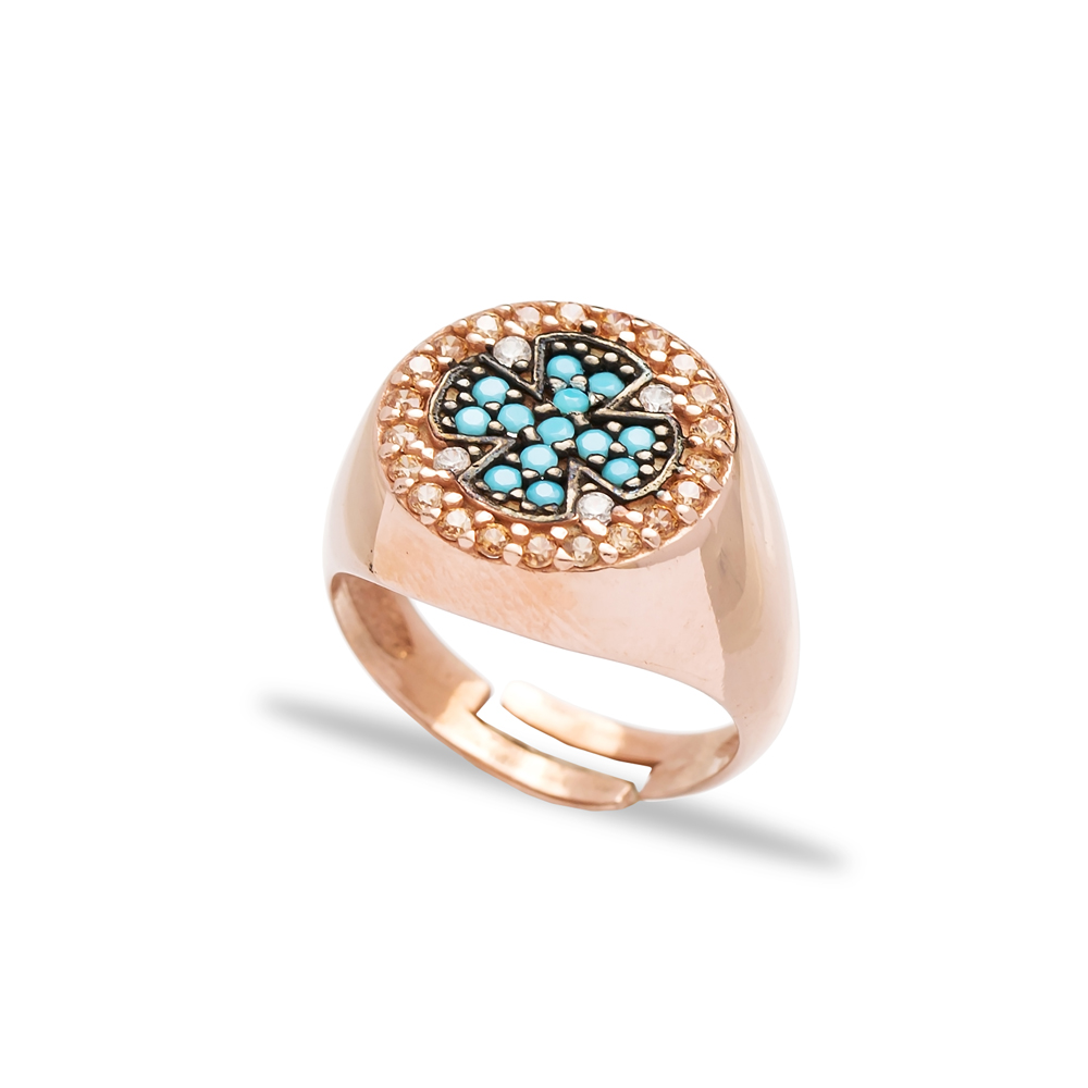 Adjustable Turquoise Cross Design Ring Turkish Wholesale Handmade 925 Silver Jewelry