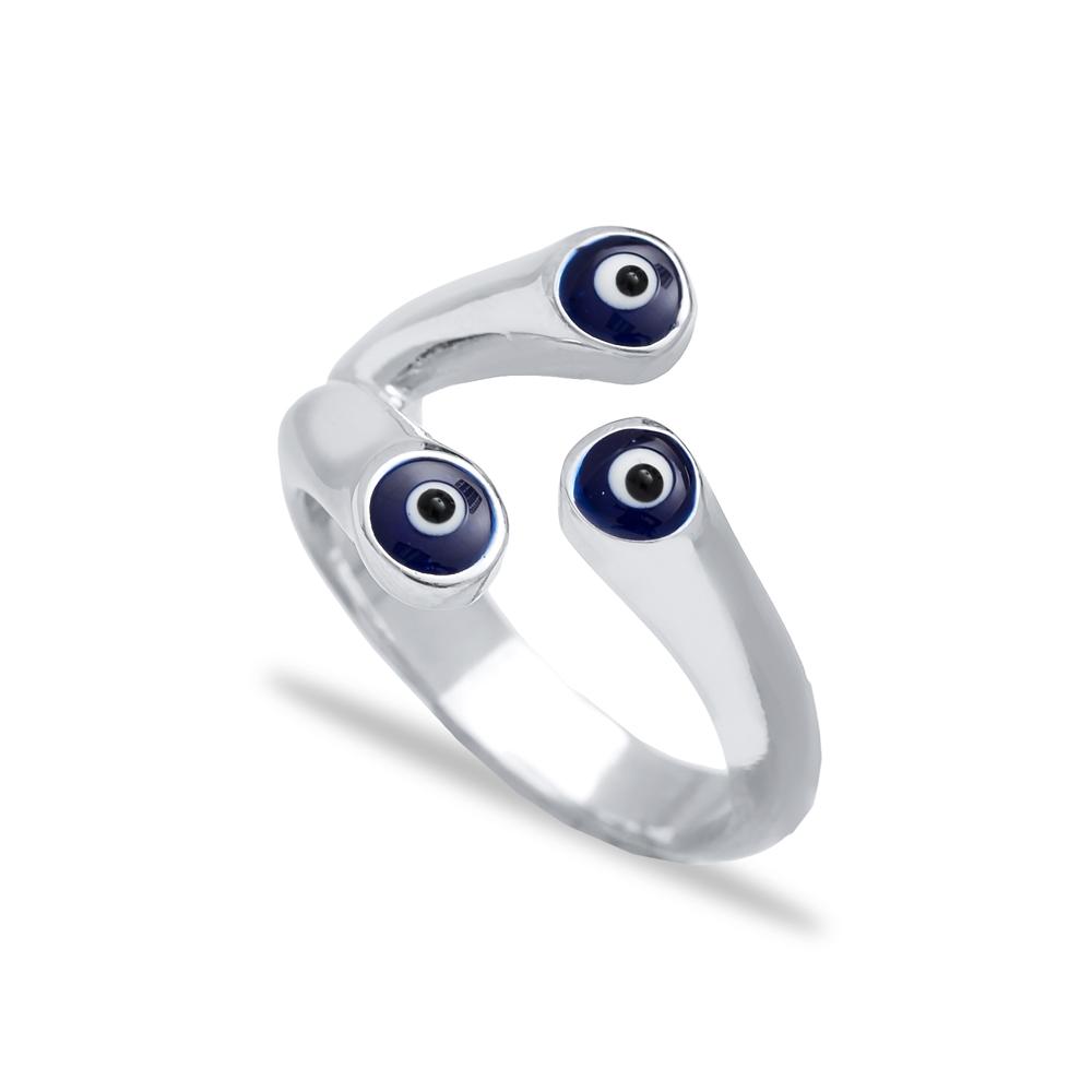 Turkish Evil Eye Design Adjustable Ring Wholesale 925 Sterling Silver Jewelry