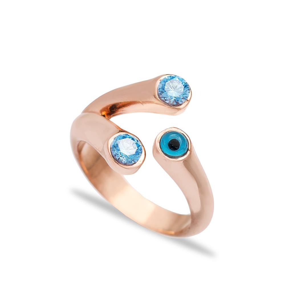 Turkish Evil Eye Design Aquamarine Adjustable Ring Wholesale 925 Sterling Silver Jewelry