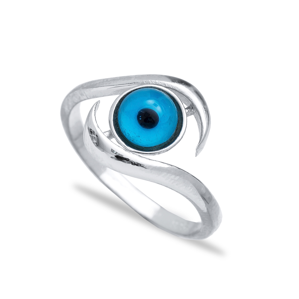 Turkish Silver Evil Eye Design Ring Wholesale 925 Sterling Silver Jewelry