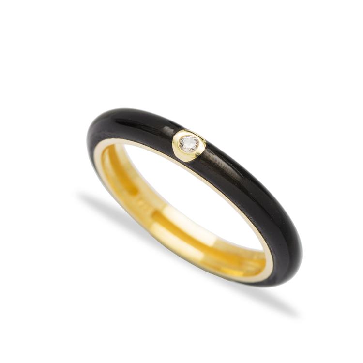 Black Enamel Fashion Zircon Stone Ring Wholesale 925 Sterling Silver Jewelry