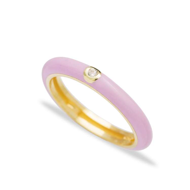 Pink Enamel Fashion Zircon Stone Ring Wholesale 925 Sterling Silver Jewelry