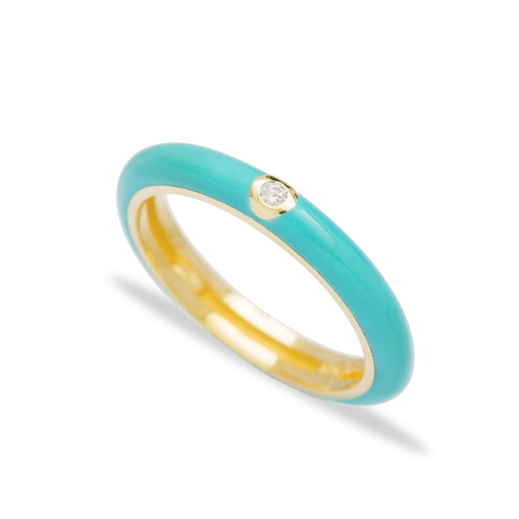 Trendy Enamel Zircon Stone Ring Wholesale 925 Sterling Silver Jewelry