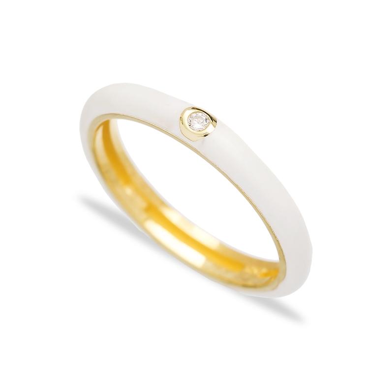 White Enamel Trendy Zircon Stone Ring Wholesale 925 Sterling Silver Jewelry