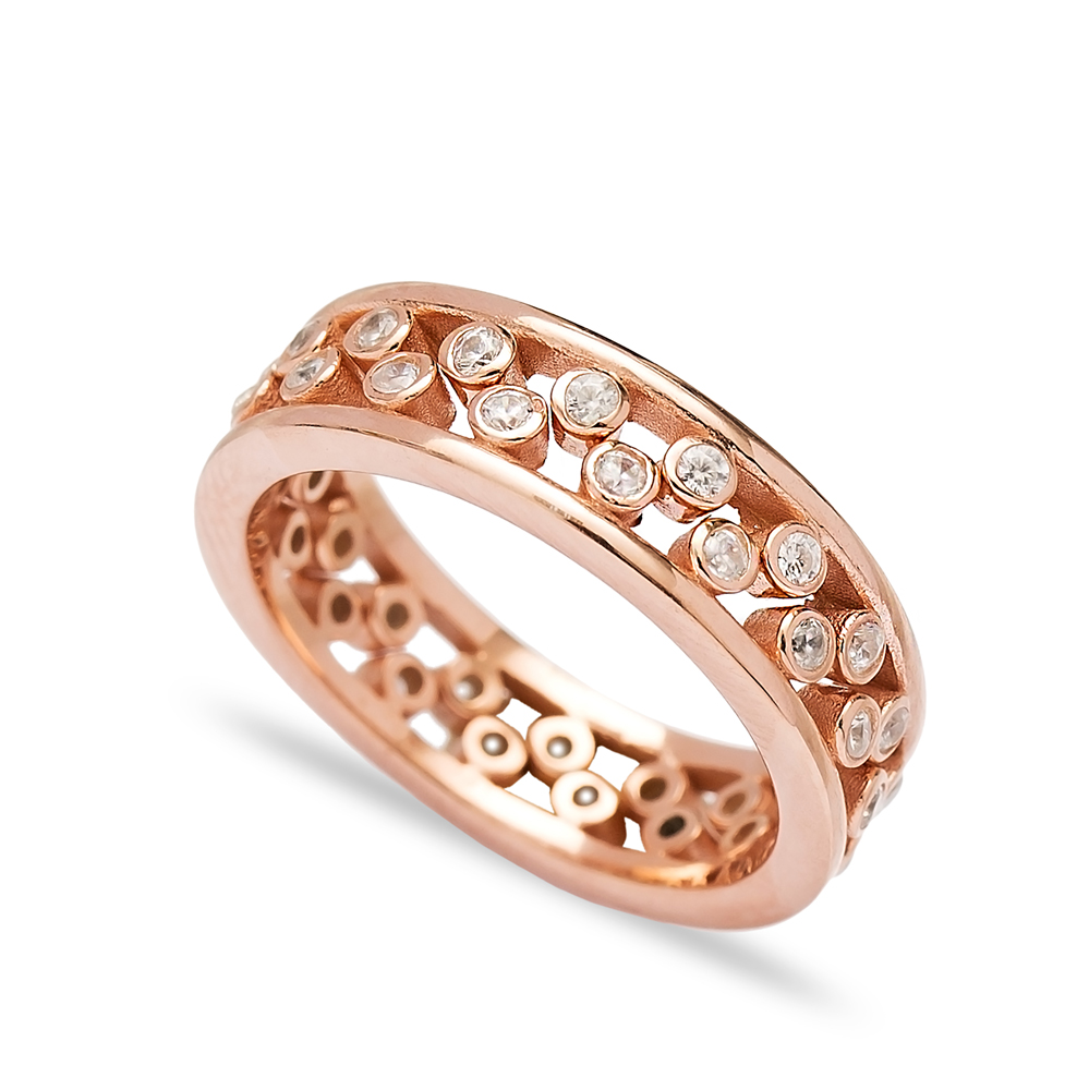 Zircon Two Rings Together Wholesale Handmade Turkish 925 Sterling Silver Jewelry
