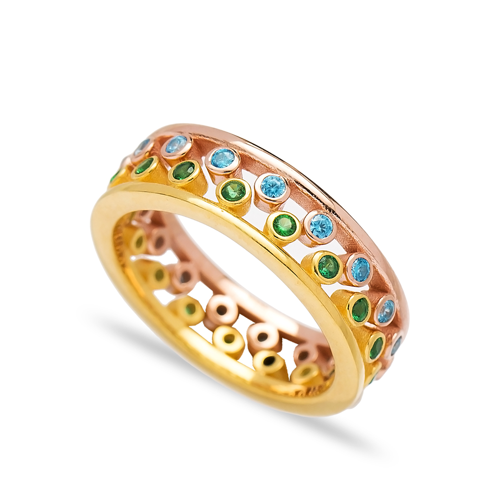 Two Band Rings Together with Color Stones Wholesale Turkish 925 Sterling Silver Jewelry