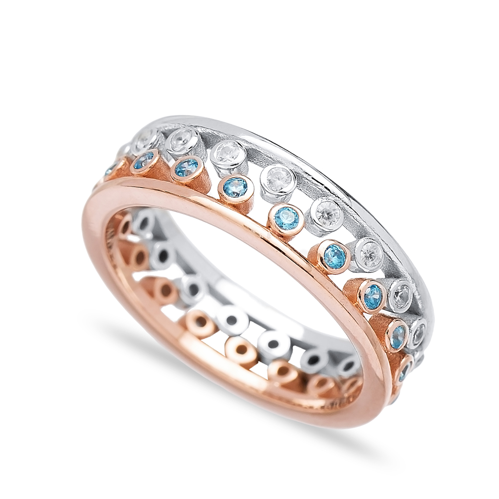 Unique Design Two Band Rings Together Wholesale Turkish 925 Sterling Silver Jewelry