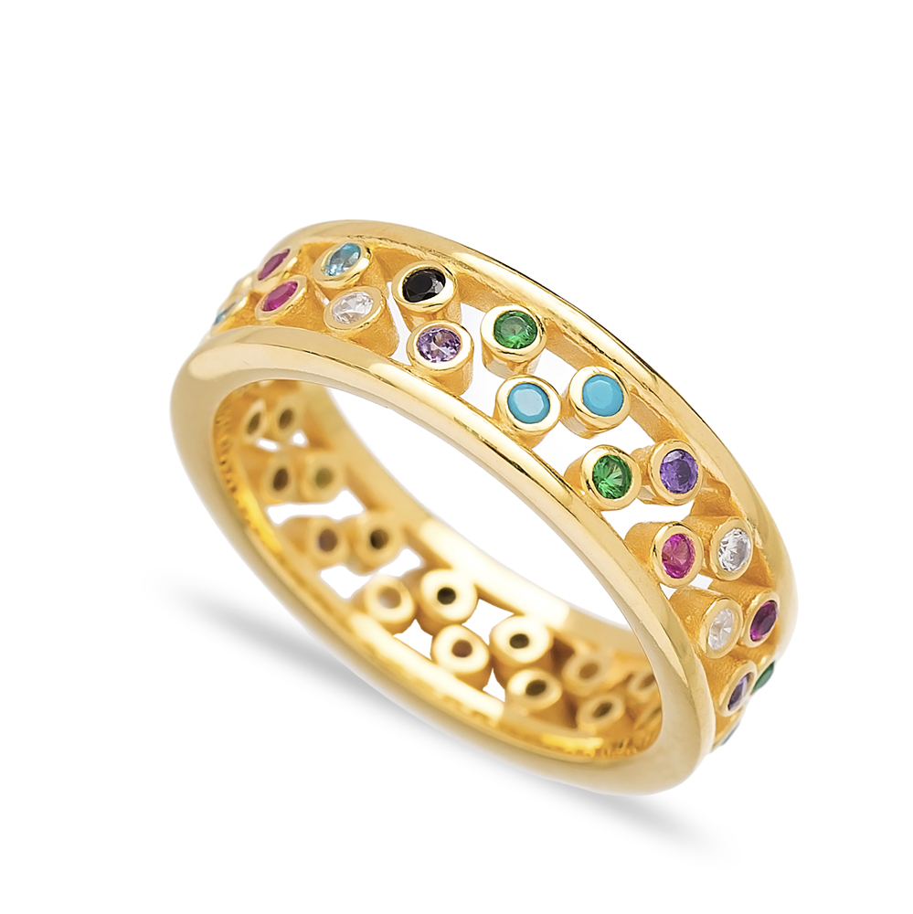 Unique Design Mix Stone Two Band Rings Wholesale Turkish 925 Sterling Silver Jewelry