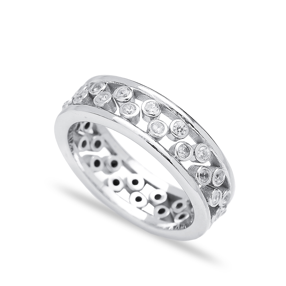 Silver Two Rings Together Zircon Stone Wholesale Handmade Turkish 925 Sterling Silver Jewelry