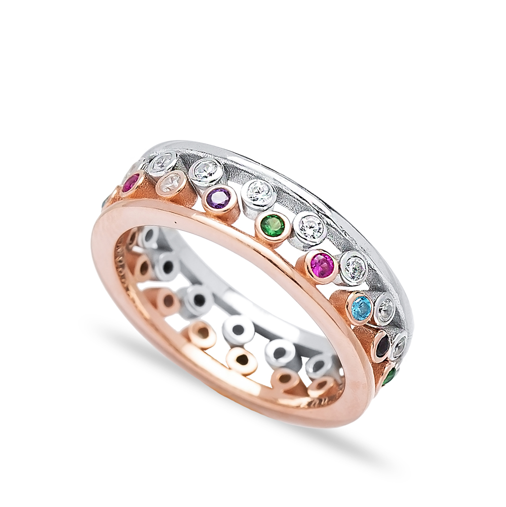 Silver Mix Zircon Stone Two Rings Together Wholesale Turkish 925 Sterling Silver Jewelry